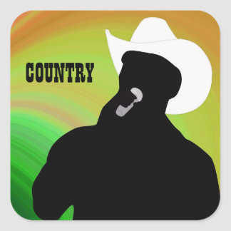 Country singer's silhouette, green yellow back square sticker