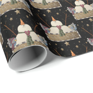 Country snowman believe sign Christmas tiled wrap Wrapping Paper