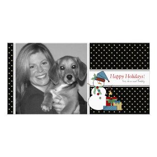 Country Snowman Christmas Photo Card {black}