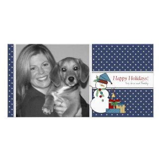 Country Snowman Christmas Photo Card {blue}