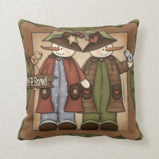 Country Snowman Holiday throw pillow