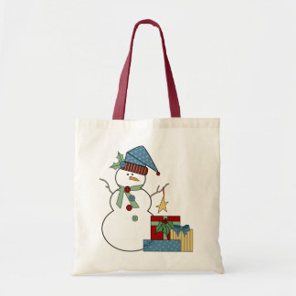 Country Snowman Holiday Tote Bag