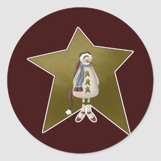Country Snowman with Star Classic Round Sticker