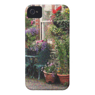 Country Stone Cottage With Flowers iPhone 4 Covers