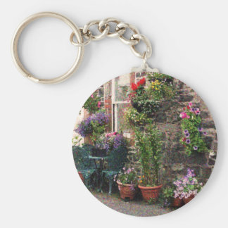 Country Stone Cottage With Flowers Keychain