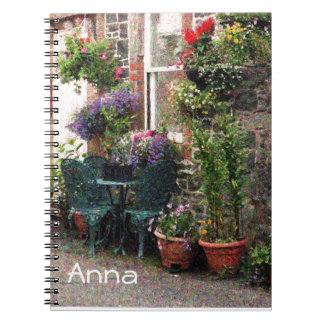 Country Stone Cottage With Flowers Notebook