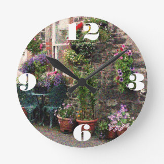 Country Stone Cottage With Flowers Round Clock