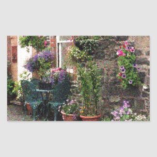 Country Stone Cottage With Flowers Sticker