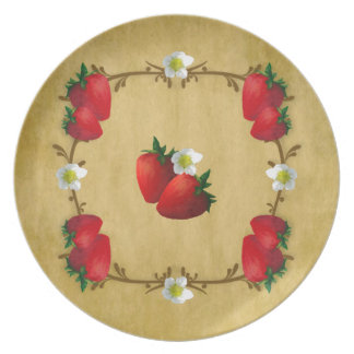Country Strawberries Melamine Plate