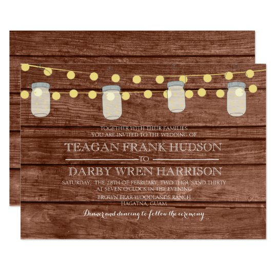 Country String Lights Mason Jar Wood Wedding Card