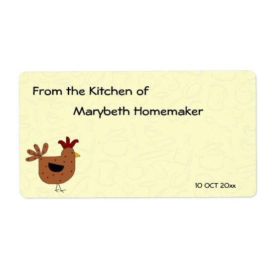 Country Style Chicken Design Homemade Food Shipping Label