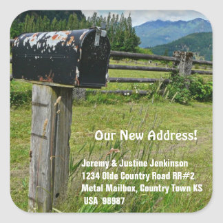 Country Style Metal Mailbox Square Sticker