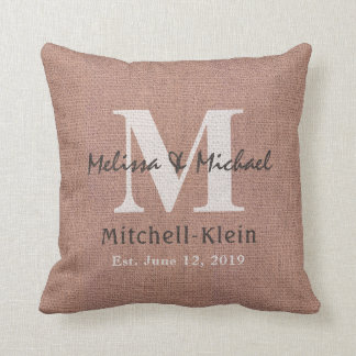Country Style Wedding Monogram Faux Burlap Throw Pillow