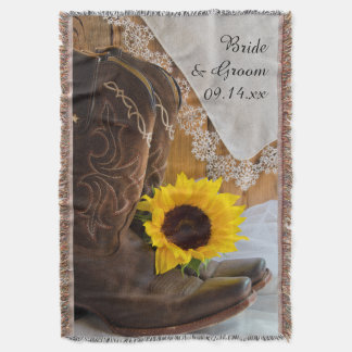 Country Sunflower and Lace Western Wedding Throw
