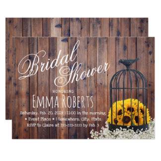 Country Sunflower & Birdcage Rustic Bridal Shower Card