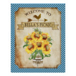 Country Sunflower Blue Gingham Poster
