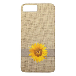 Country Sunflower & Burlap Monogram iPhone 8 Plus/7 Plus Case