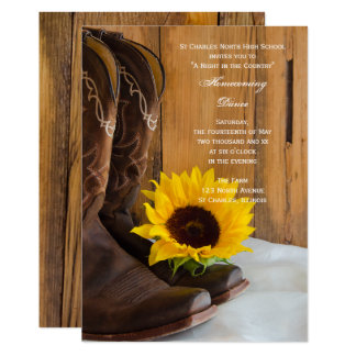 Country Sunflower Homecoming Dance Invitation