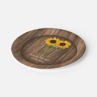 Country Sunflower Mason Jar Paper Plate