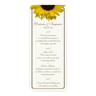 Country Sunflower Menu Card