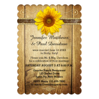 Country Sunflower Post Wedding Party Invitation