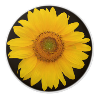 Country Sunflower Round Ceramic Pull