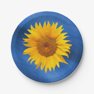 Country Sunflower Royal Blue Summer Wedding Paper Plate