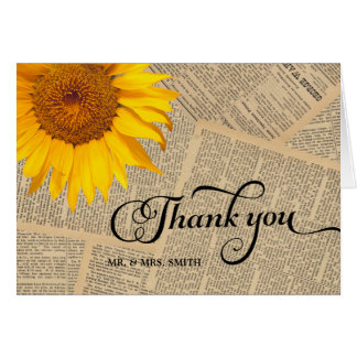 Country Sunflower Vintage Old Newspaper Thank You Card