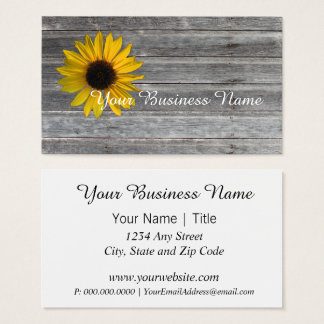 Country Sunflower Weathered Wooden Wall Business Card