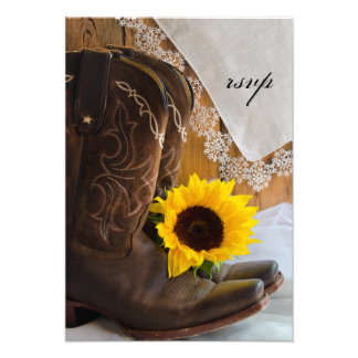 Country Sunflower Wedding Response Card Personalized Invites