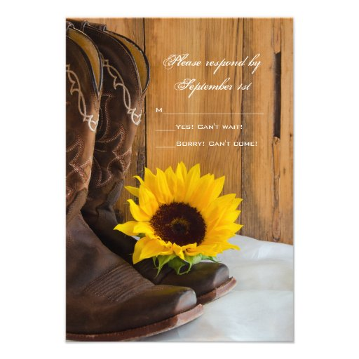 Country Sunflower Wedding Response Card Invite