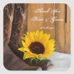 Country Sunflower Wedding Thank You Stickers