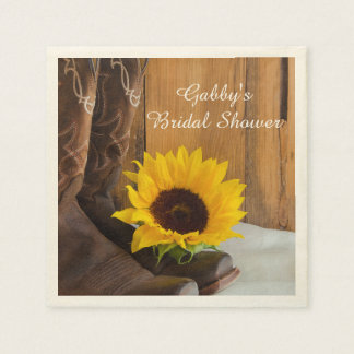 Country Sunflower Western Bridal Shower Paper Napkin