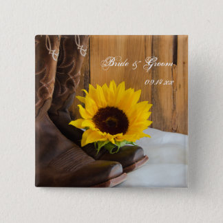 Country Sunflower Western Wedding 2 Inch Square Button