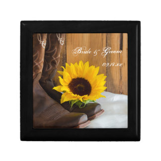 Country Sunflower Western Wedding Keepsake Gift Box