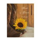 Country Sunflower Western Wedding Keepsake Wood Print