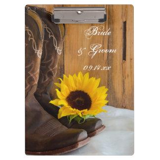 Country Sunflower Western Wedding Planning Clipboards