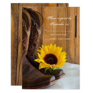 Country Sunflower Western Wedding RSVP Response Card