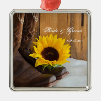 Country Sunflower Western Wedding Silver-Colored Square Ornament