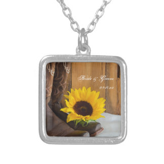 Country Sunflower Western Wedding Silver Plated Necklace