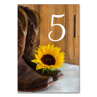 Country Sunflower Western Wedding Table Numbers