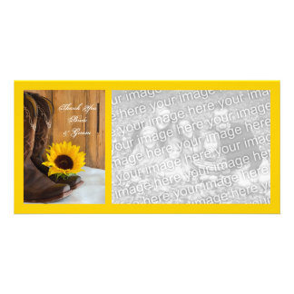 Country Sunflower Western Wedding Thank You Personalized Photo Card