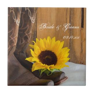 Country Sunflower Western Wedding Tile