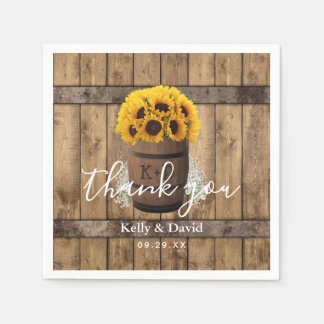 Country Sunflower Wine Barrel Vintage Wedding Paper Napkin
