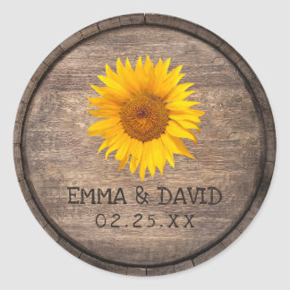 Country Sunflower Wine Barrel Wedding Thank You Classic Round Sticker
