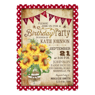 Country Sunflowers and Gingham Check Birthday Card