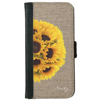 Country Sunflowers Faux Burlap with Name iPhone 6 Wallet Case