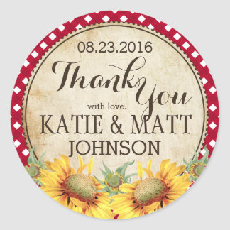 Country Sunflowers Red Gingham Check Thank You Round Sticker