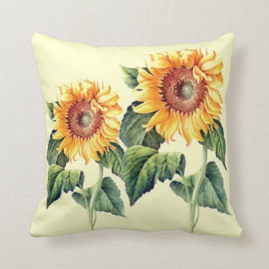 Country Sunflowers Vintage Summer Botanical Throw Pillow