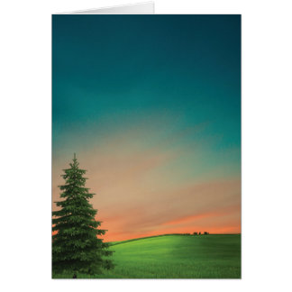 Country Sunset or Sunrise on a Hill Blank Notecard